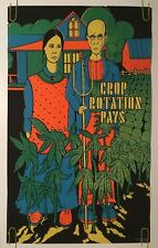 Crop Rotation Pays Vintage Black Light Poster American Gothic Couple Marijuana