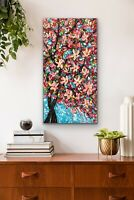 ORIGINAL Oil Painting Stretch Canvas 24x 12 CHERRY BLOSSOMS Art by Angela