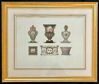 ANTIQUE SEVRES FRENCE HAND COLORED PRINT OF PORCELAIN SAMPLES & MARKS  FRAMED