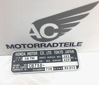 Honda CB 750 K0 K1 K2-K6 registered type name plate identification