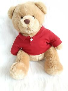 "AEROPOSTALE Stuffed Plush Teddy Bear Brown 15"" Red Aero Polo Shirt"