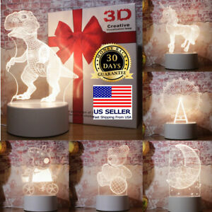 3D LED Illusion USB table Night Light Table Night Stand Lamp Bedroom Child Gift
