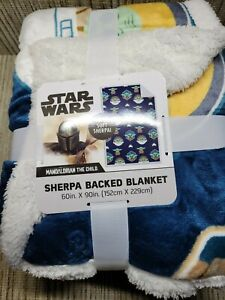 The Mandalorian The Child Sherpa Backed Fleece Blanket 60 X 90 Inches
