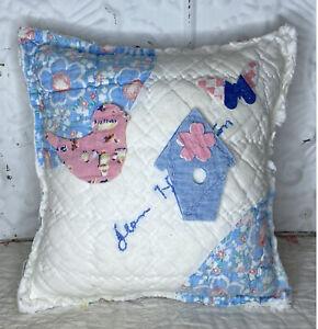 NEW Handmade Birdhouse Butterfly Bird Pillow Vintage Friendship Quilt Chenille