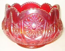 VINTAGE ART DECO RUBY RED CARNIVAL GLASS BOWL IRIDESCENT PINWHEEL DESIGN NR
