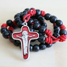 Rosary Red Paracord Black Wood Pray Wearable Rope Cord Catholic Rosario
