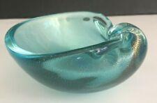 """Mid Century Modern Italian Murano Art Glass Aqua Gold Aventurine Bowl 4 1/8"""""""