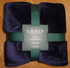 Ralph Lauren Micromink Blanket Full Queen Size Midnight Blue RL Logo Bedding NWT