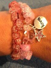 Bracelets Love Star Handmade Oct Gift Lot Natural Snakeskin Pink Quartz Gemstone