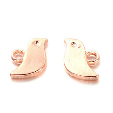 10 Cute Little ROSE GOLD Double Sided Bird Charms - 11mm - lady-muck1