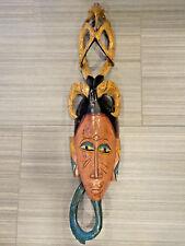 "36"" LONG GURU AFRICA IVORY COAST WALL MASK TRIBAL ART WOOD FACE BIRD HORNS GURO"