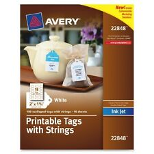 """Averys Inkjet Printable Tags With Strings - 2"""" X 1.25"""" - 180/pack - Paper -"""