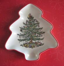 New Spode Christmas Tree Red Band Tree Shaped Dish Small Limited Annual Series