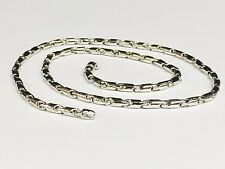 "14k white gold Cylinder Tube LINK Men's chain necklace 22"" 30 grams 3.5 MM"