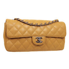 CHANEL Quilted Single Chain Shoulder Bag 9703549 Purse Beige Caviar Skin 34435