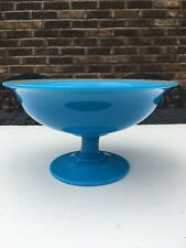 Cambridge Azurite Blue Milk Glass Low Footed Compote