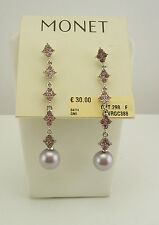 Monet Faux Pearl and Simulated Light Amethyst Drop Earrings (on original card)