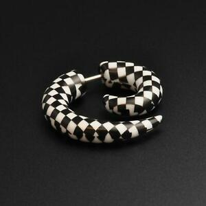 Fake Ear Stretcher Plugs Black & White Checked Acrylic Faux Gauge Spiral