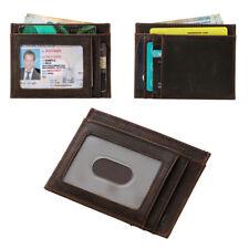 RFID Men's Women's Genuine Cow Leather Slim Wallet Money Clip Credit Card Holder