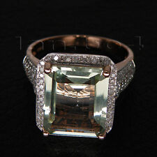 Solid 14kt Rose Gold Diamond Green Amethyst Engagement Wedding Gemstone Ring