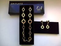 Women Jewelry Set Made With Swarovski Gold Black Necklace And Earrings Crystal