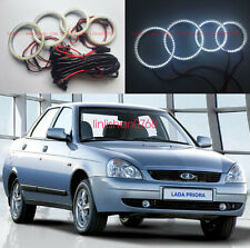 4pcs Excellent headlight SMD 7000K Angel Eyes kit Halo Ring For Lada Priora