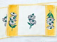 Vintage Placemats & Runner Daisies Yellow, Blue, Green Cotton Linen Set of 9
