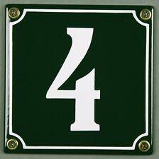 """Grüne Emaille Hausnummer """"4"""" 12x12 cm Hausnummernschild sofort lieferbar Schild"""