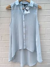 Topshop Size 10 Summer Floaty Chiffon Sleeveless Button Front Top Blue RRP£28