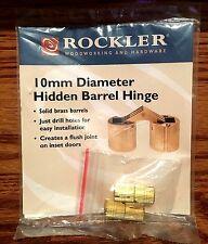 ROCKLER 10 mm. INVISIBLE BRASS CONCEALED BARREL CABINET HIDDEN HINGE 2 PK. NEW!