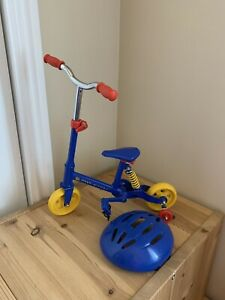 Build a Bear Paw-Cycle Bicycle Training Wheels Blue Red Yellow w/ Helmet Retired