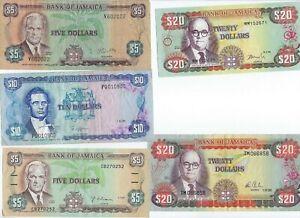 Jamaica P-61b,67b,68c,70d,72c 1976,81,83,91,99 5,10,20 Dollars circulated 5 note