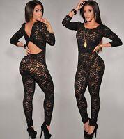 US Long Sleeve Lace Women's Bodycon Jumpsuit Romper Bodysuit Clubwear lingerie