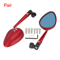 Pair Universal Red Motorcycle Side Rearview Mirrors Adjustable Rear View Mirror