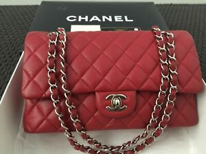 CHANEL Classic Flap Red Quilted Bag Handbag 100% AUTHENTIC Medium Double Flap