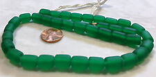 "16"" Strand Frosted Cylinder Resin Beads 11x11mm BRIGHT EMERALD GREEN"