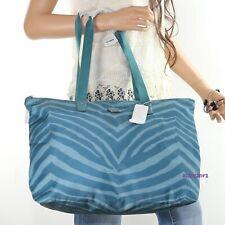 NWT Coach Zebra Animal Print Nylon Packable Weekender Tote Bag F77526 Blue NEW