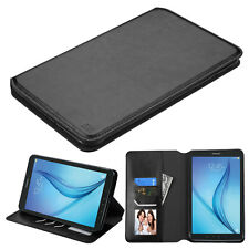 SAMSUNG GALAXY TAB E 8.0 T377 BLACK LEATHER WALLET FLIP CARD HOLDER CASE COVER