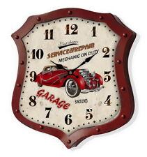 Orologio Vintage da parete metallo Garage Rosso scudo