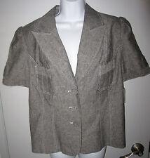Harve' Benard Career Jacket Sz 12 Gray Chambray Short Sleeves Princess Lines NWT