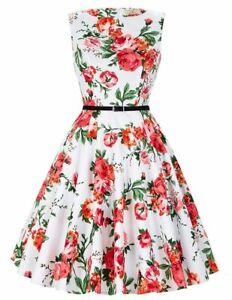 GRACE KARIN Floral Print Boatneck Sleeveless Vintage Tea Dress with Belt Size L