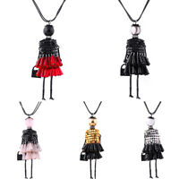 Charm Women Crystal Tassel Doll Charm Pendant Necklace Handmade Sweater Chain