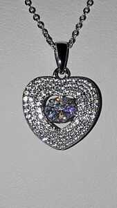 925 STERLING SILVER RHODIUM PLATED HEART SAPPHIRE MOVING STONE PENDANT NECKLACE