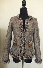 Women's Boston Proper Feather Chain Metallic Shimmer Tweed Blazer - Sz 0