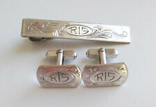 Vintage Anson Sterling Silver Etched Men's Cuff-Links & Tie Clip (Monogrammed)