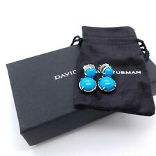 David Yurman Sterling Silver Chatelaine Double Drop Turquoise Dangle Earring