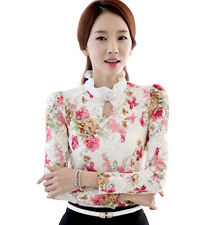 Elegant Classy Floral Lace Top Blouse Vintage Crystal Formal Classic High Neck