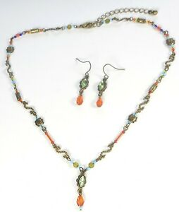 LIGHTWEIGHT ORANGE GREEN BLUE GLASS BEADS BRASS PLATED NECKLACE AND EARRINGS SET