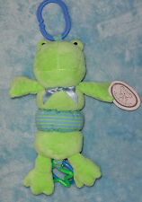 Koala Baby Plush Frog Clip on Toy Vibrates Ribbit Sound Baby Rattle Blue Green