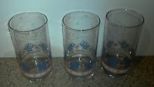 3 Libbey Rock Sharpe Folk Art Basket & Flower Tumbler Pink & Blue EUC